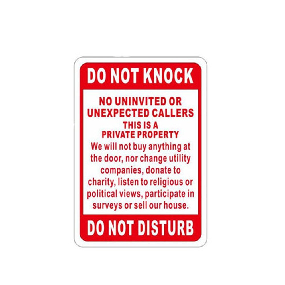 WSN14 Aluminum Do Not Knock Sign for Private Property 7 x 10 Inches