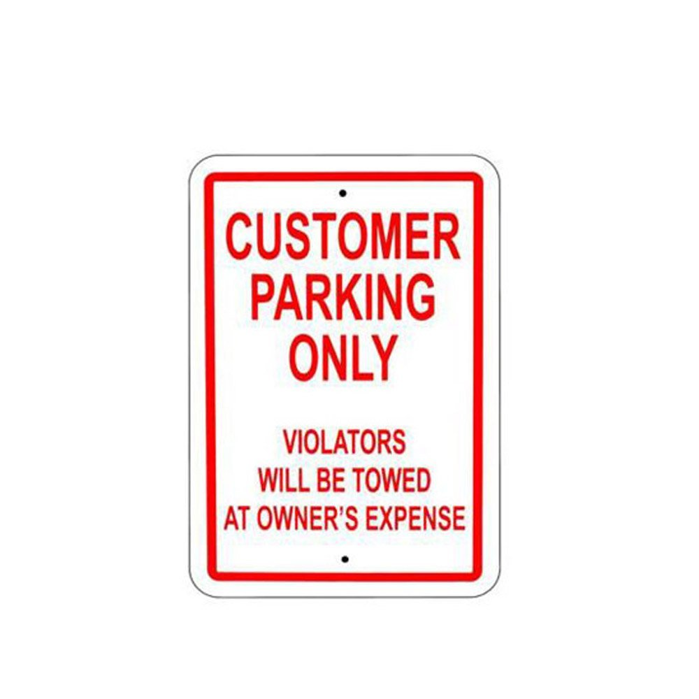 WSN04 Aluminum Customer Parking Only Sign Metal Signs 8 x 12 Inches