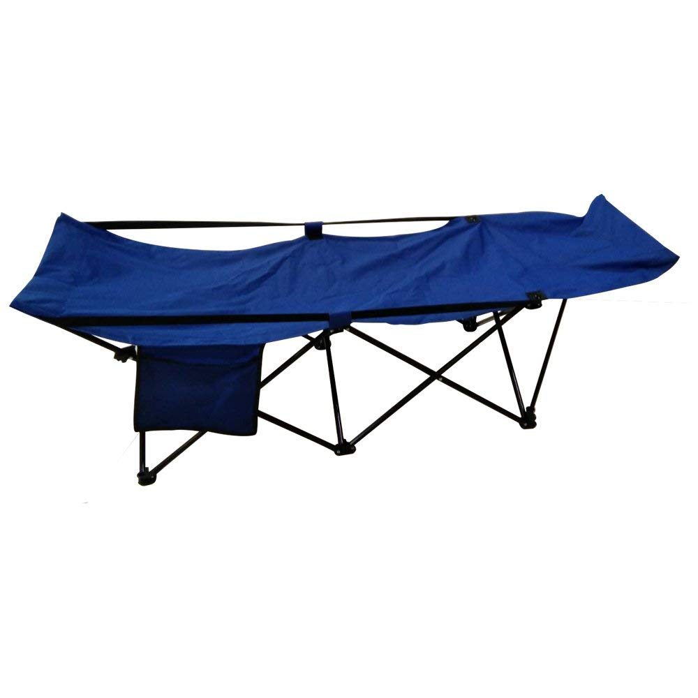 FCB2BL Portable Collapsible Camping Bed with Side Storage Bag Blue