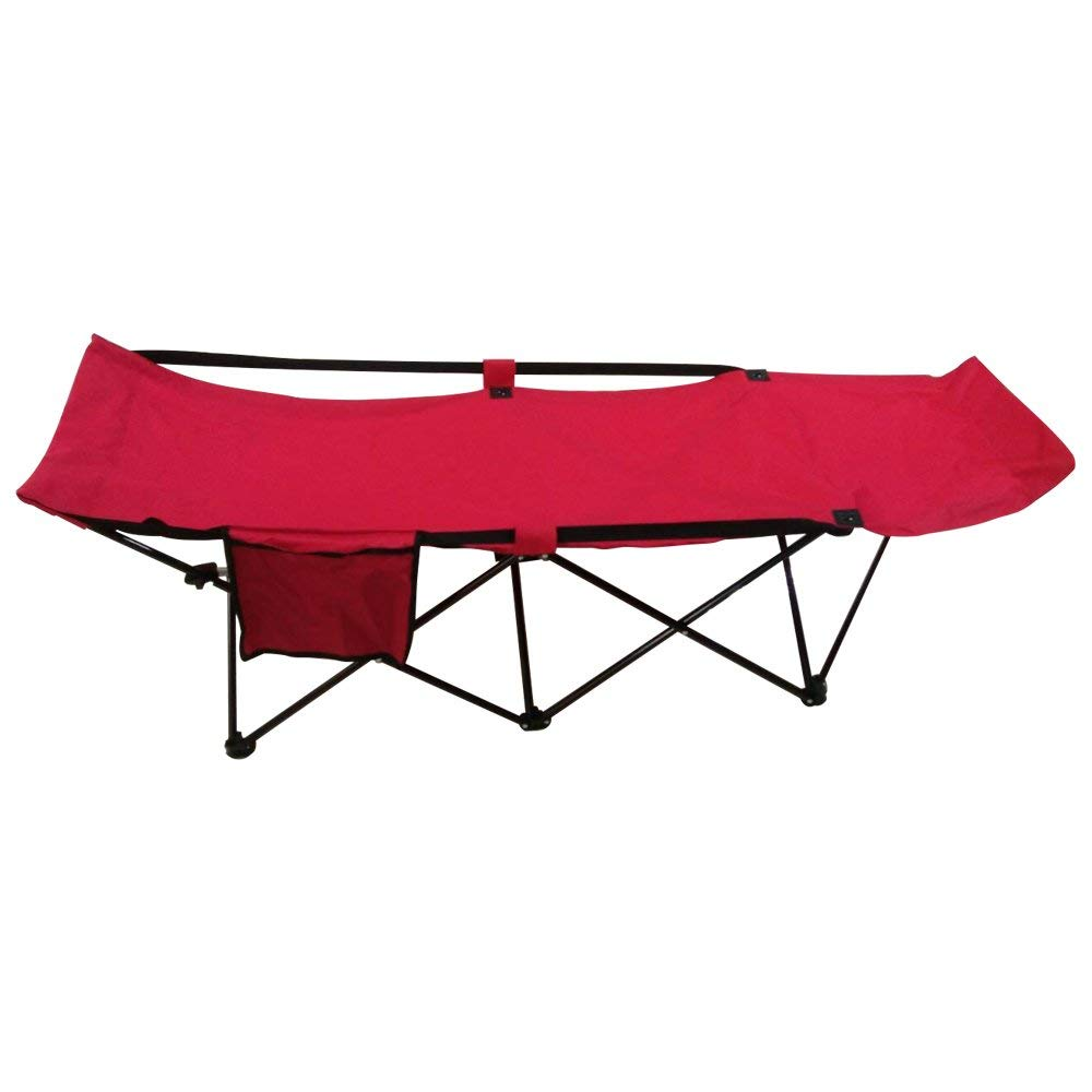 FCB2R Portable Collapsible Camping Bed with Side Storage Bag Red