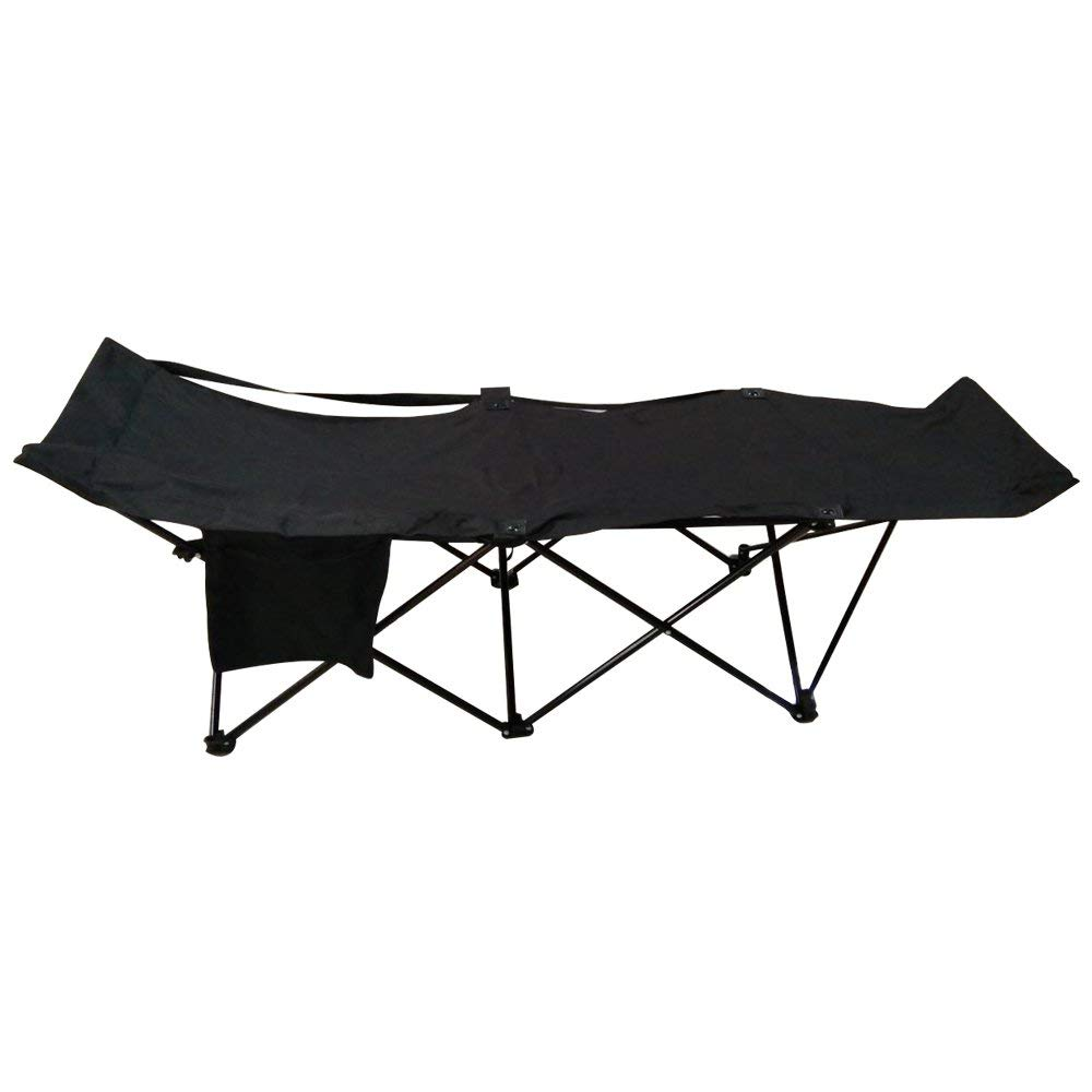 FCB2BK Portable Collapsible Camping Bed with Side Storage Bag Black