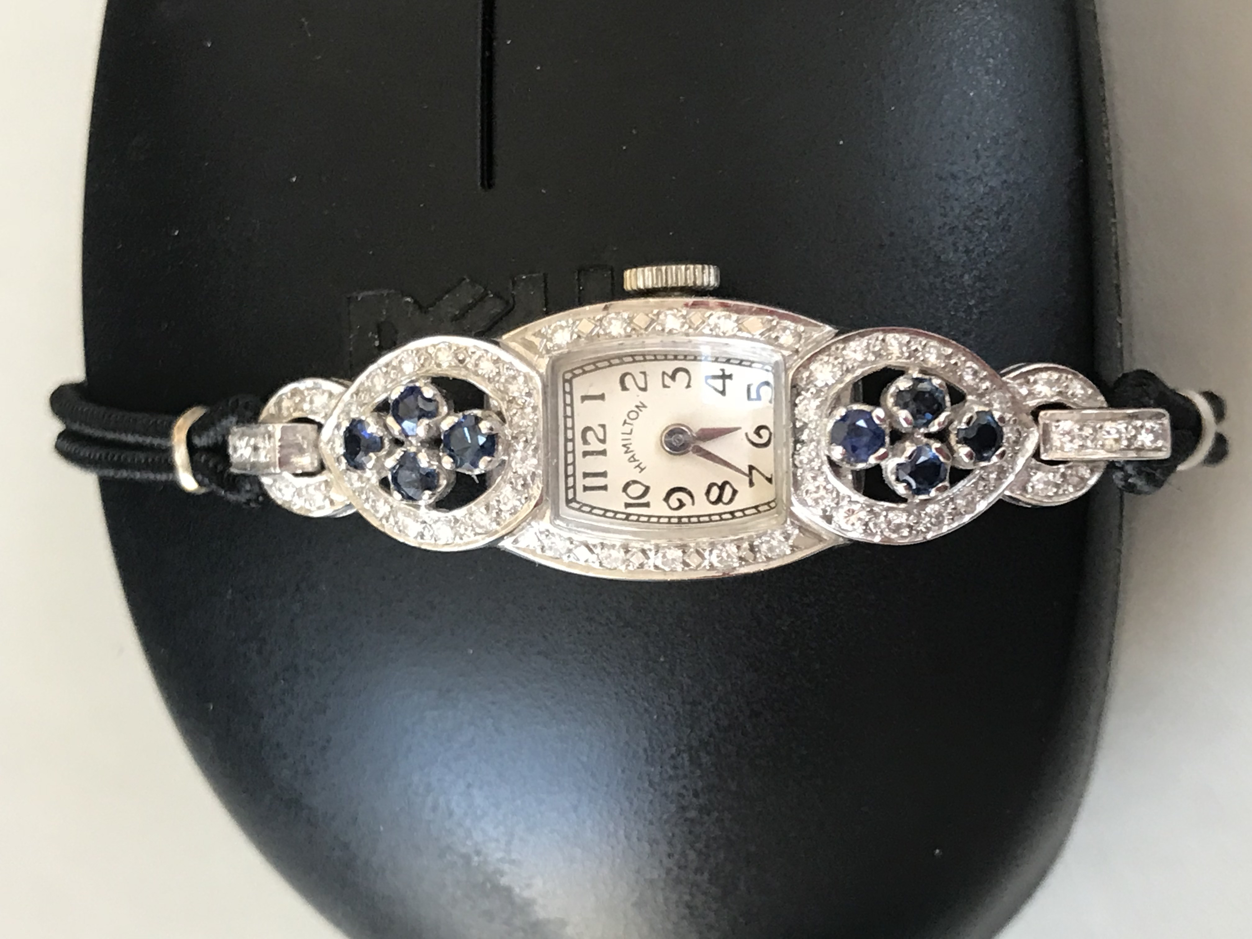 Lady's 14k White Gold Watch w. Diamonds and Sapphires