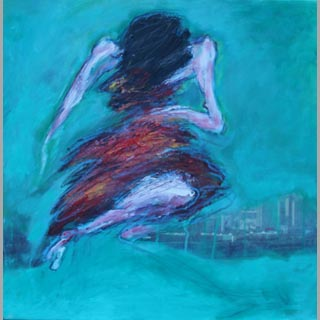 "Original Figurative Dancer Painting ""Night and the City"