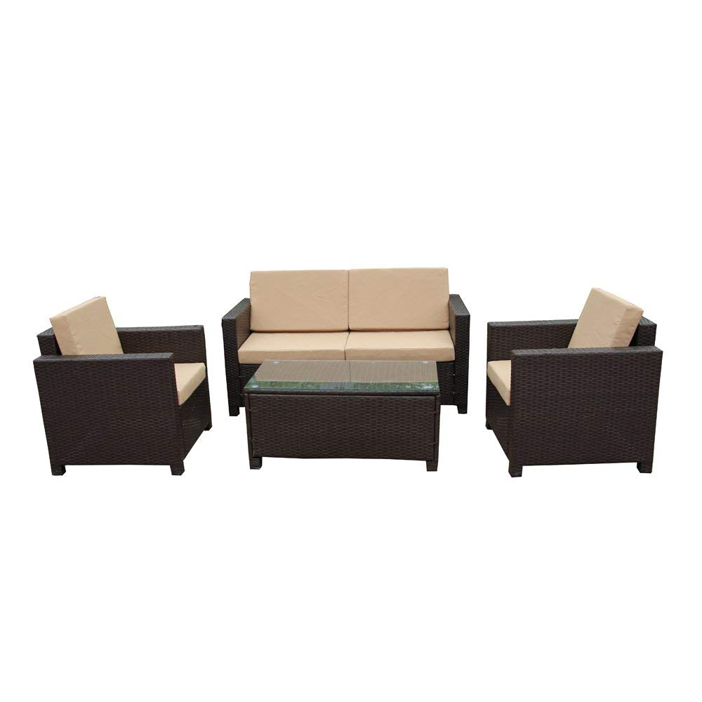 RTF002BR 4-Piece Indoor/Outdoor Cushioned Furniture Set