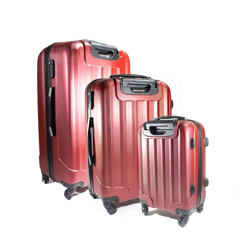 LG06BURG ABS 3-Piece Luggage Set with Embossed Stripe Pattern