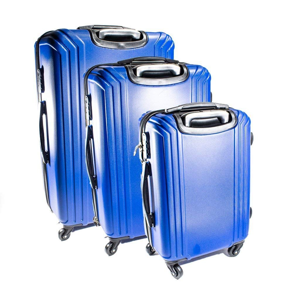 LG201DBL ABS 3-Piece Luggage Set with Multi Stripe Pattern