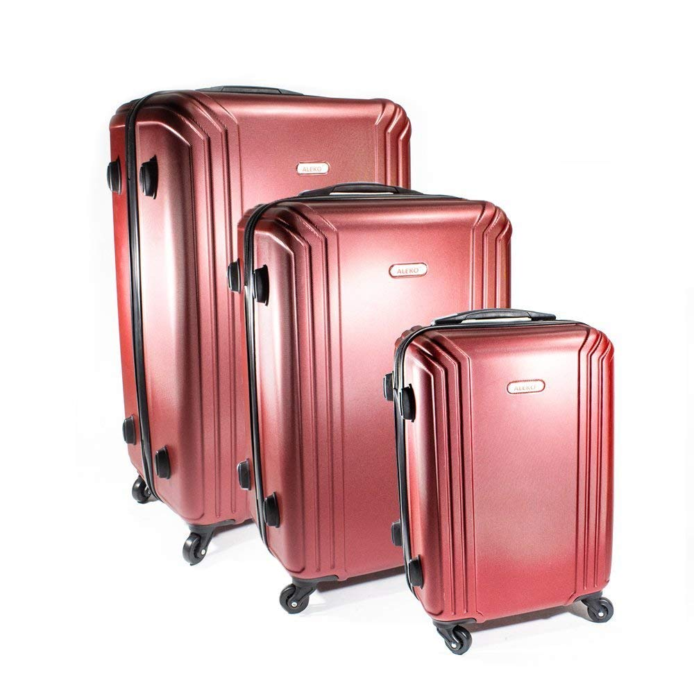 LG201BURG ABS 3-Piece Luggage Set with Multi Stripe Pattern