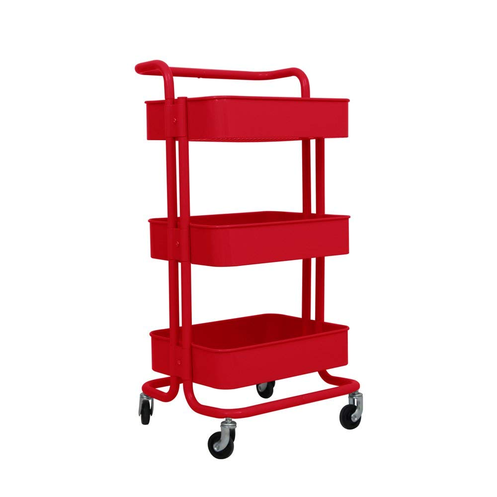 TUCH02RD 3-Tier Rolling Utility Trolley Cart