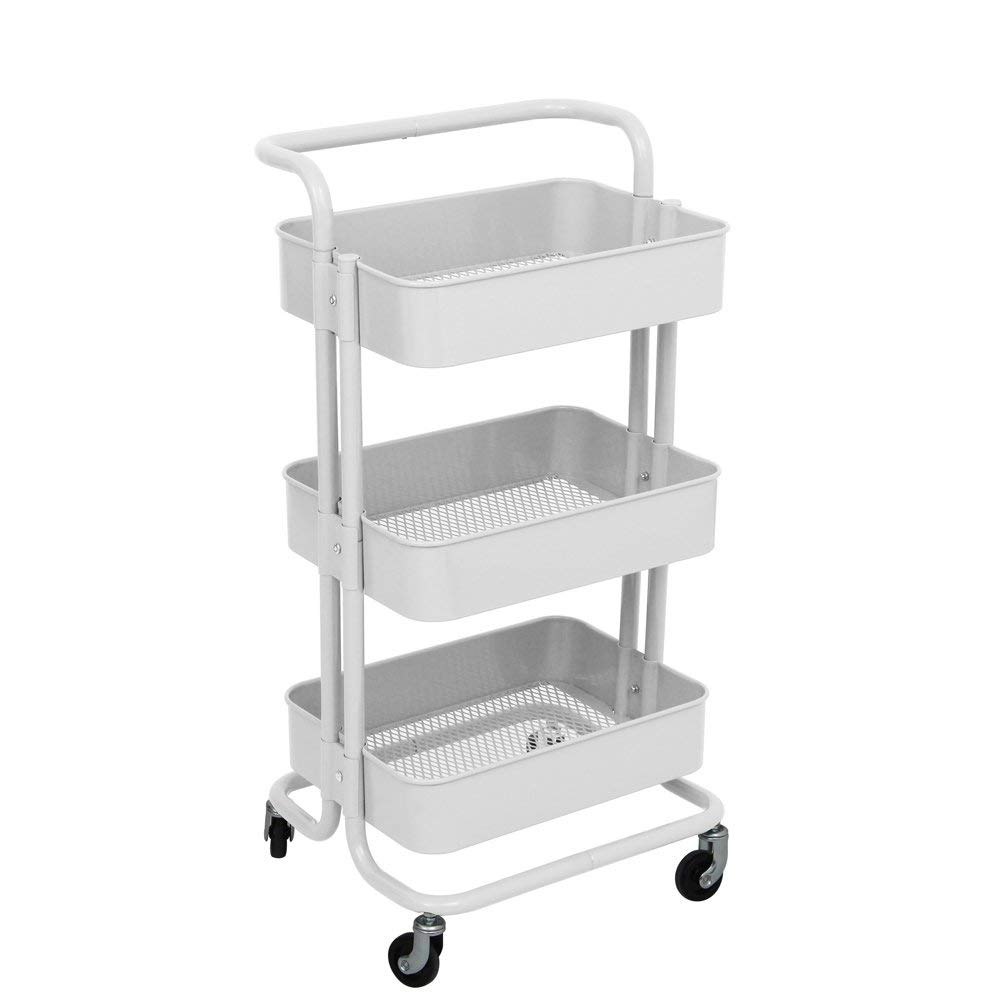 TUCH02WH 3-Tier Rolling Utility Trolley Cart