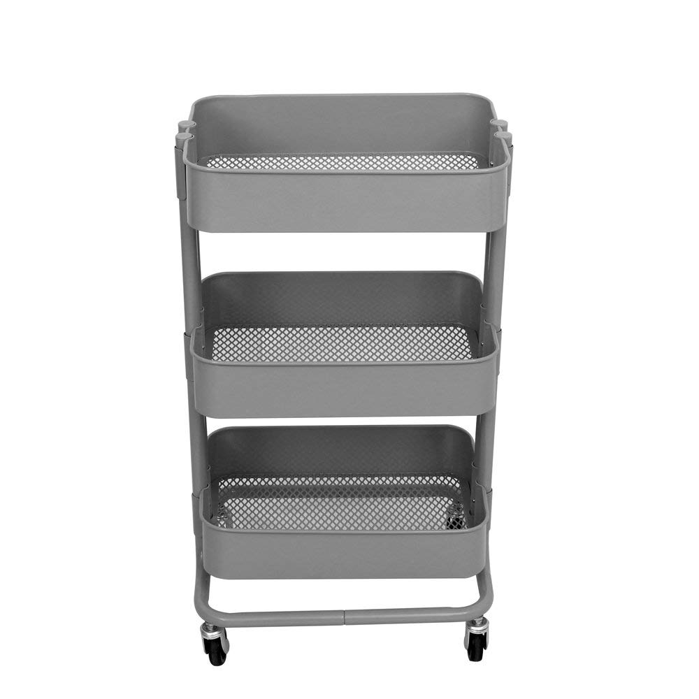 TUC01GY 3-Tier Rolling Utility Trolley Cart