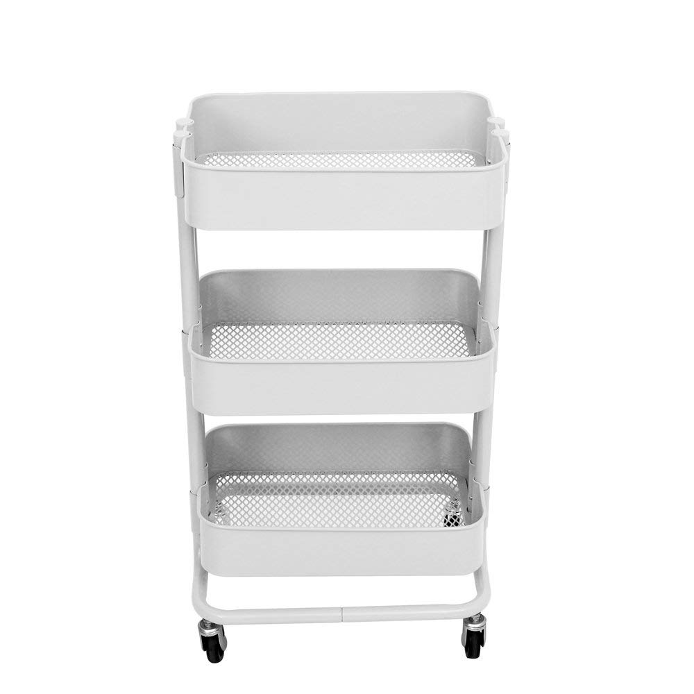 TUC01WH Carbon Steel 3-Tier Rolling Utility Trolley