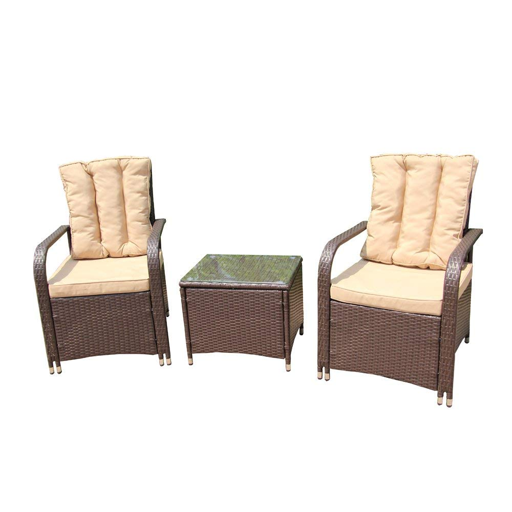 RTF009BR Rattan Wicker 3-Piece Set