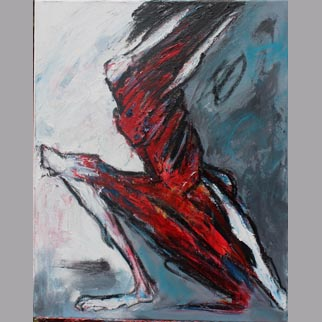 "Framed Original Figurative Dancer Painting entitled ""Forward Thrust"