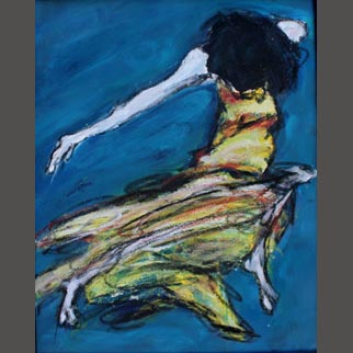 "Framed Original Figurative Dancer Painting ""Cuban Slide"""