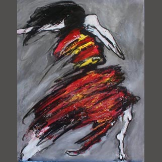 "Framed Original Figurative Dancer Painting ""Stretch"""