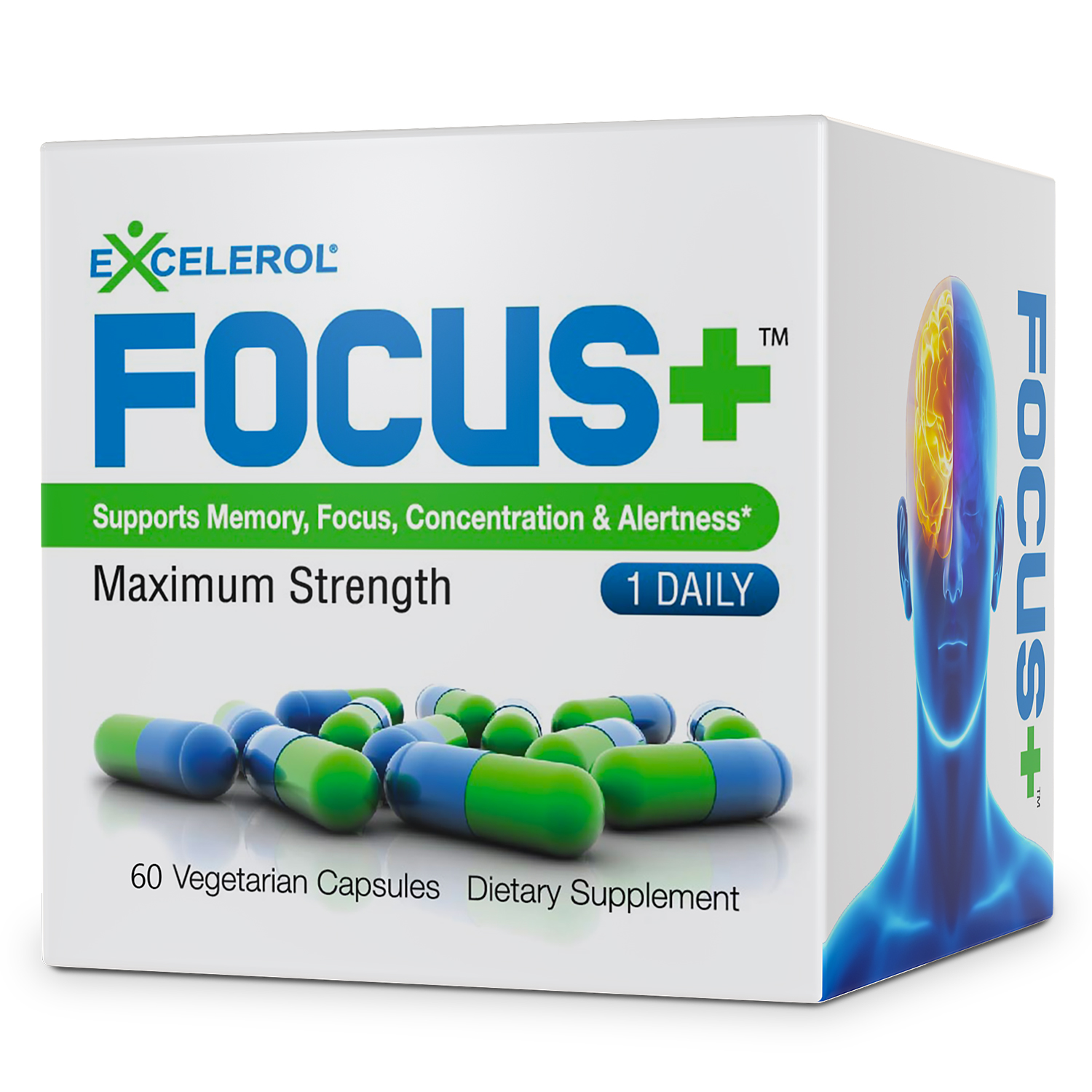 FOCUS+ Brain Supplement - 60 Caps - Powerful Mental Clarity Booster - Supports F