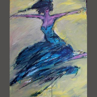 "Framed Original Dancer Painting ""Devil in a Blue Dress"""