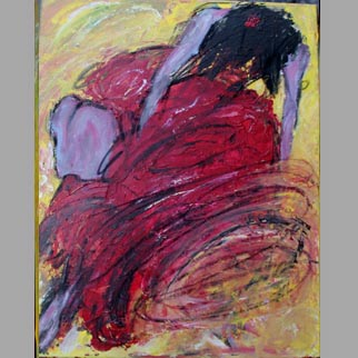 "Framed Original Figurative Dancer Painting ""Flash"""