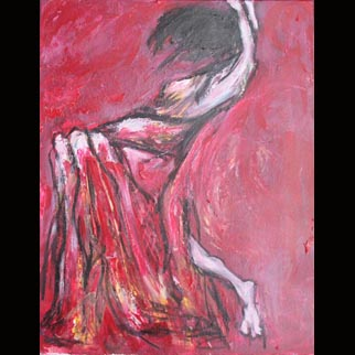 "Framed Original Figurative Dancer Painting entitled ""White Hot"""