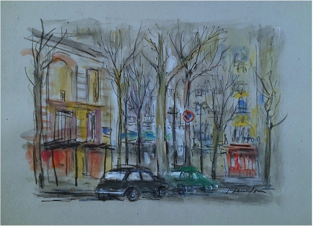 Signed Original  Pierre Petitfour, Paris Boulevard, 1936 - Lithograph