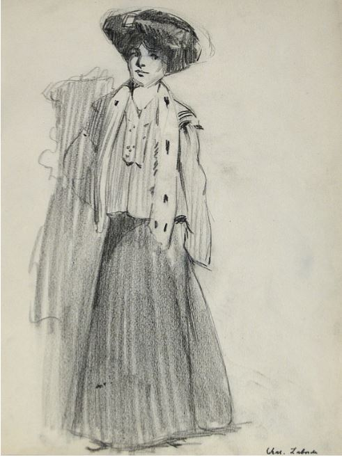 Charles LaBorde's Original Drawing Lady with a Hat, 1929