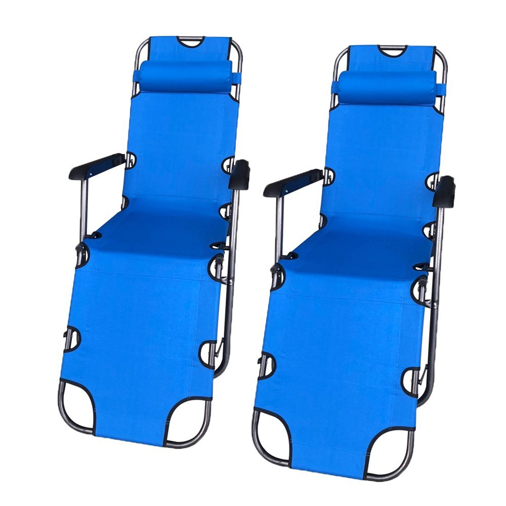 2FCBC3BL Foldable Zero Gravity Camping and Lounge Chair Blue Lot of 2
