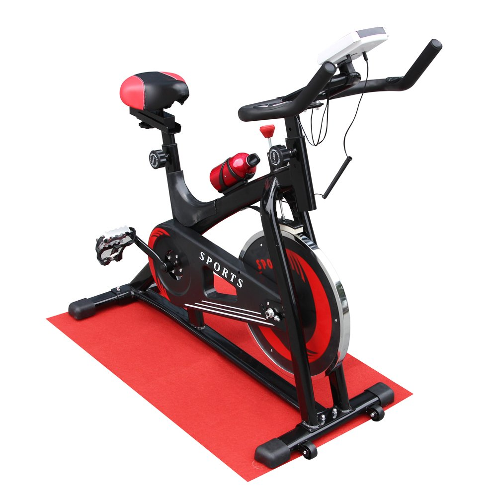 FCT01BK Steel Indoor Fitness Stationary Cycling Bike with Digital Display Red an
