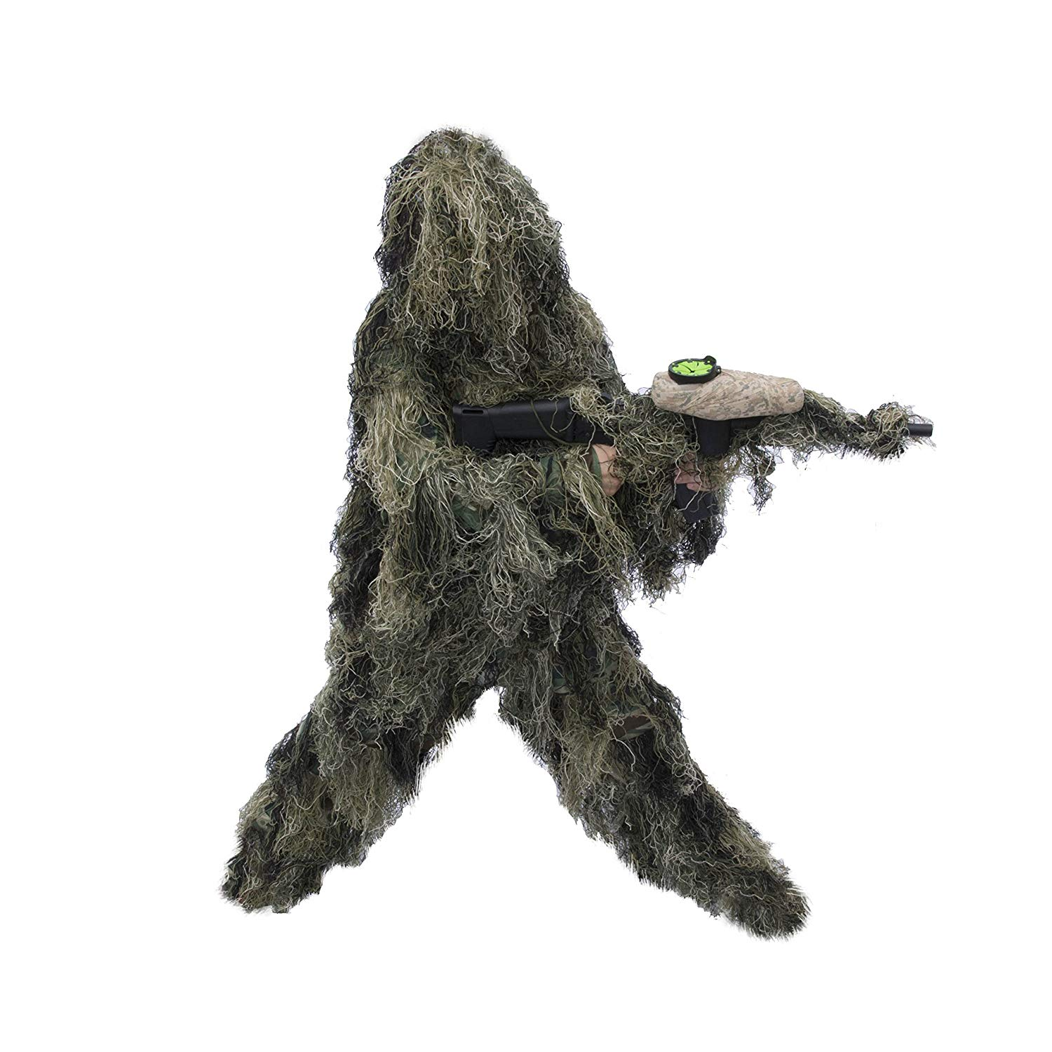 PBGS51 Tactical Paintball Hunting Woodland Ghillie 3 Piece Full Body Suit Green