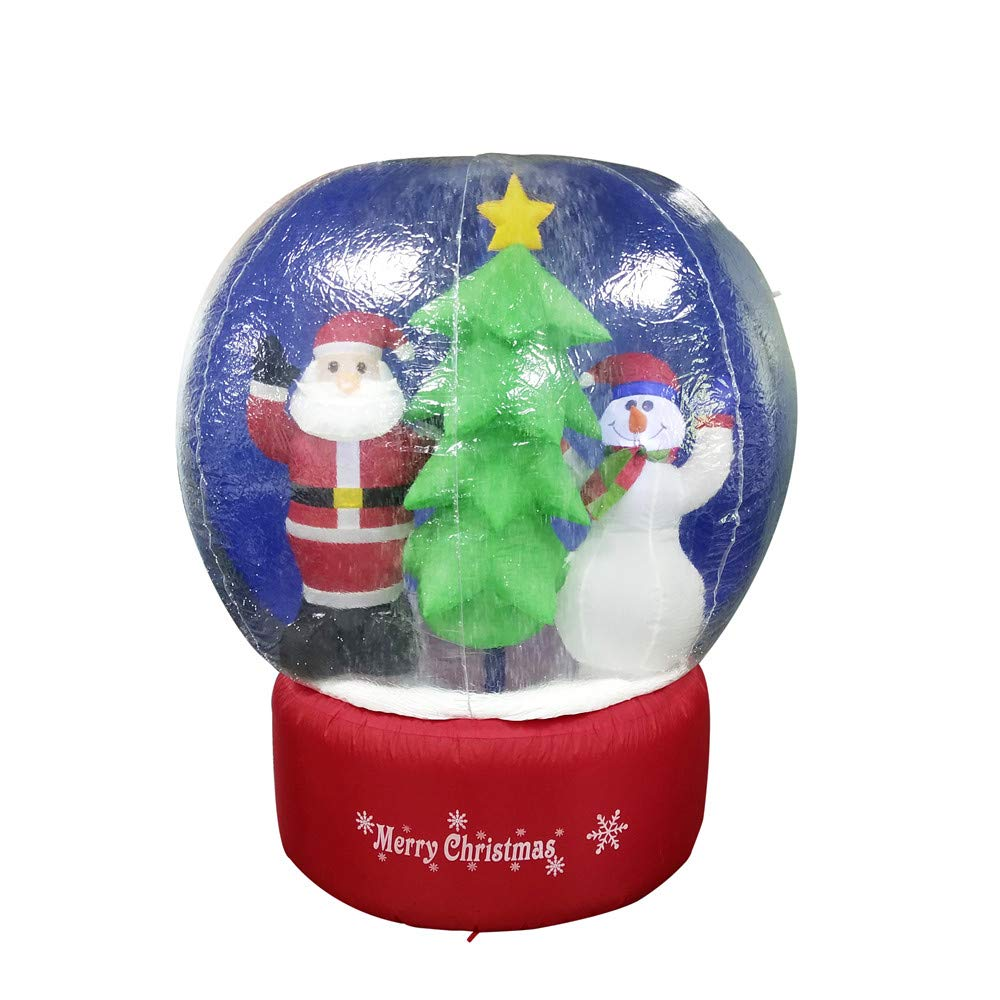 CHID004 Inflatable LED Christmas Snow Globe with Merry Christmas Sign 5 Foot