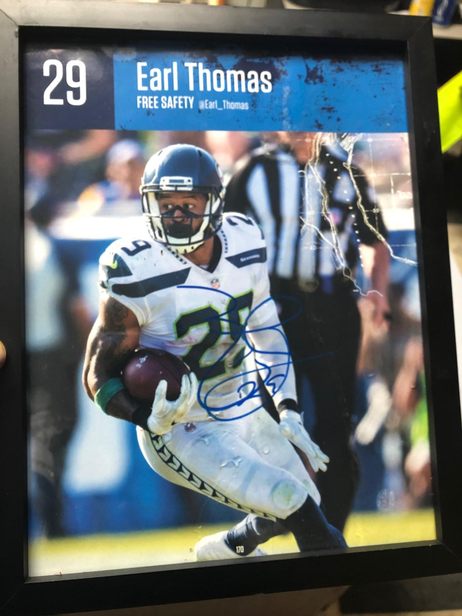 Framed autographed Earl Thomas Seahawk legend and future Hall of Famer