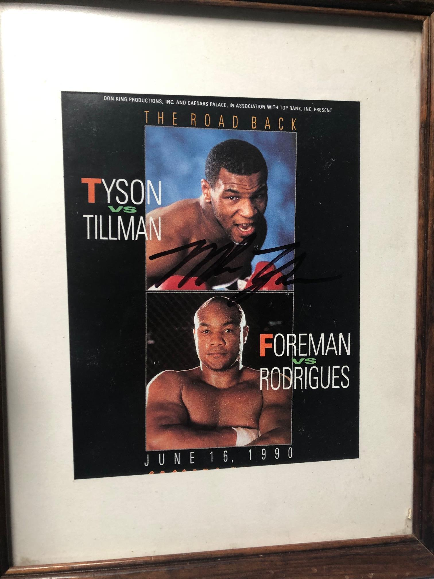 Framed large Mike Tyson autograph— With certificate of authenticity