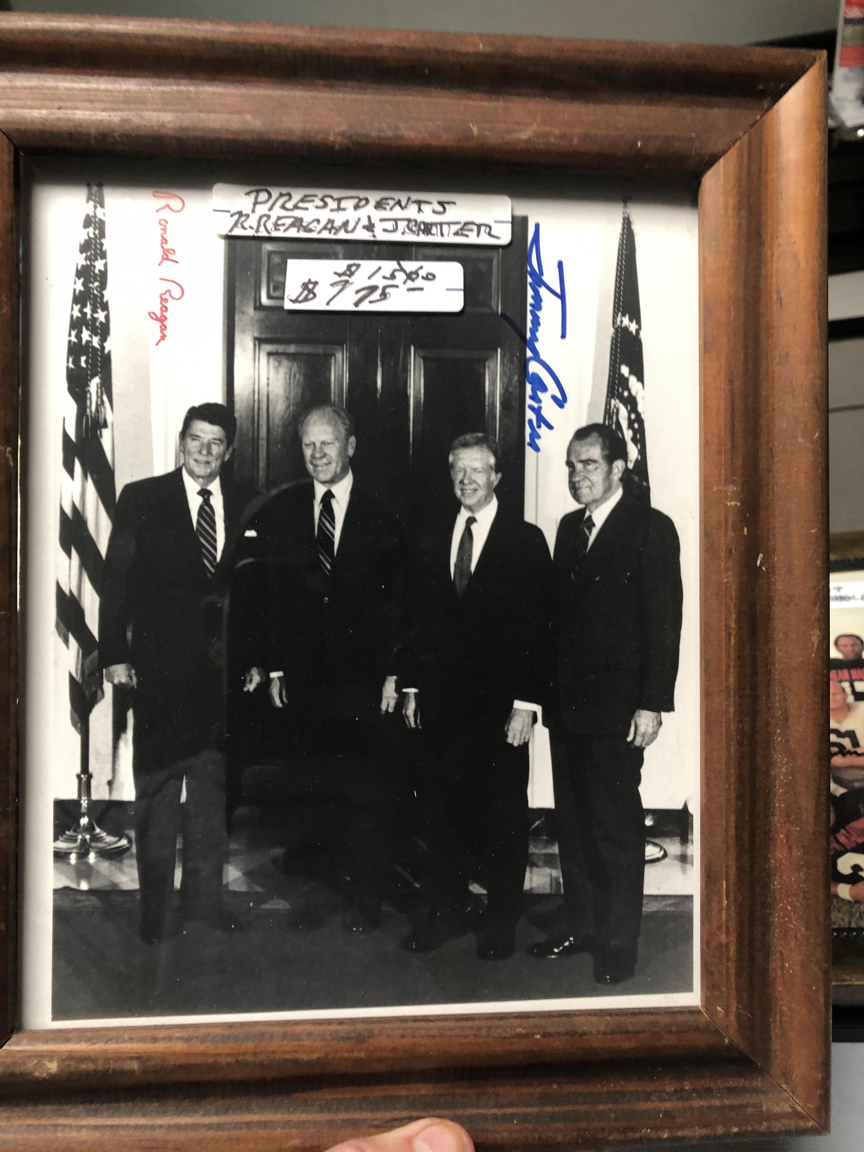 Ronald Reagan and Jimmy Carter framed autographed photo - Rare!