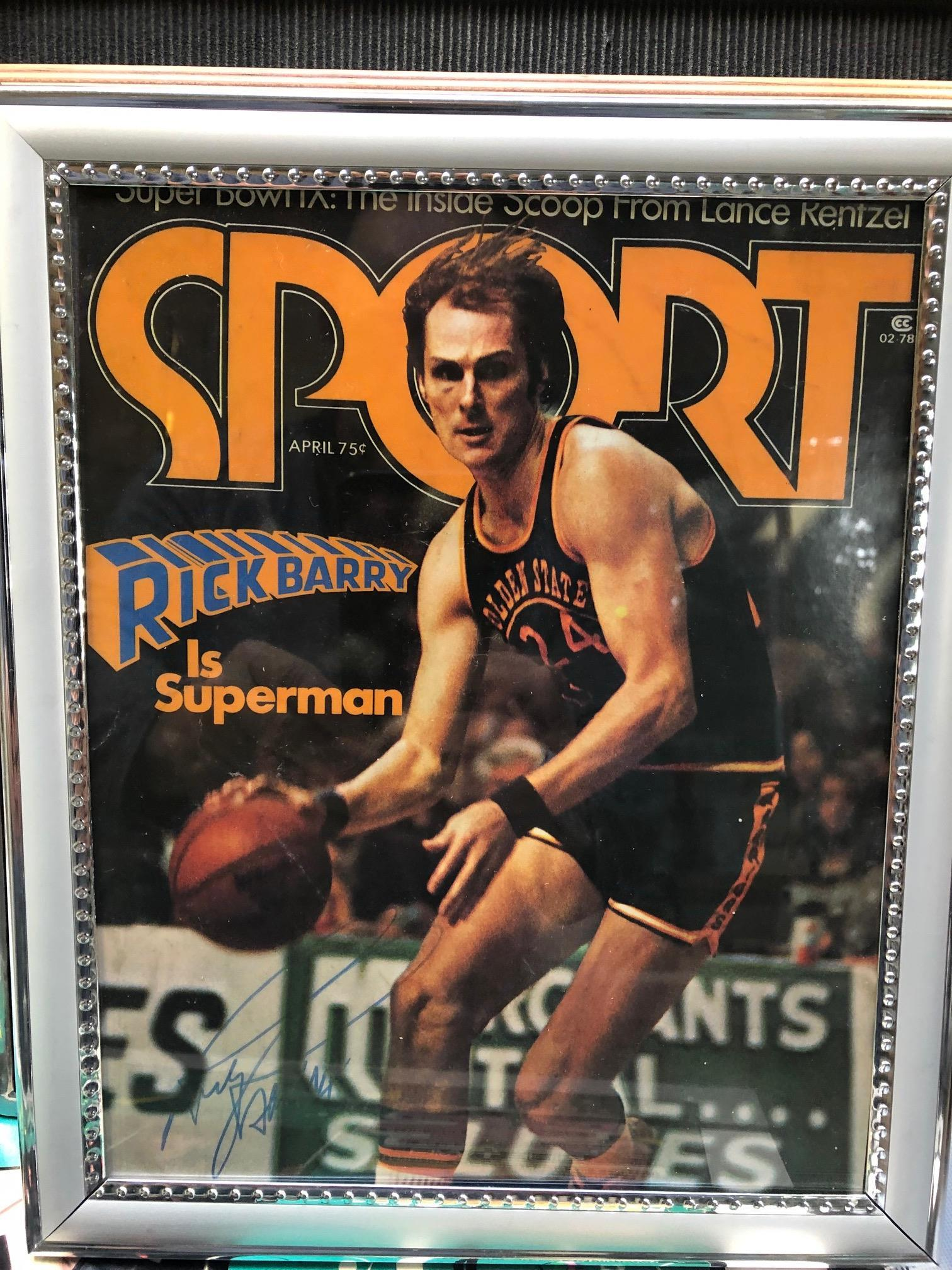 Framed autographed Sport magazine cover- Basketball legend Rick Barry