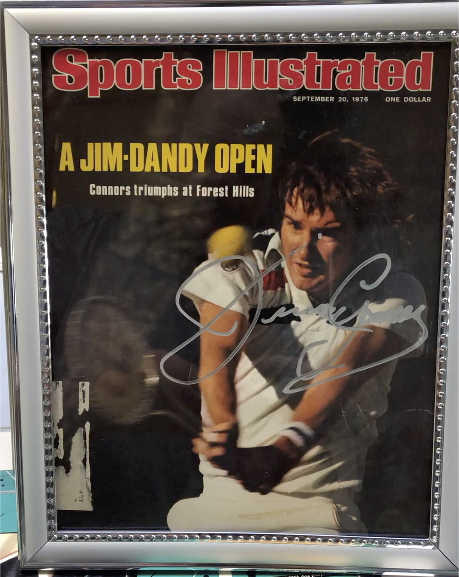Framed autographed tennis legend Jimmy Connors