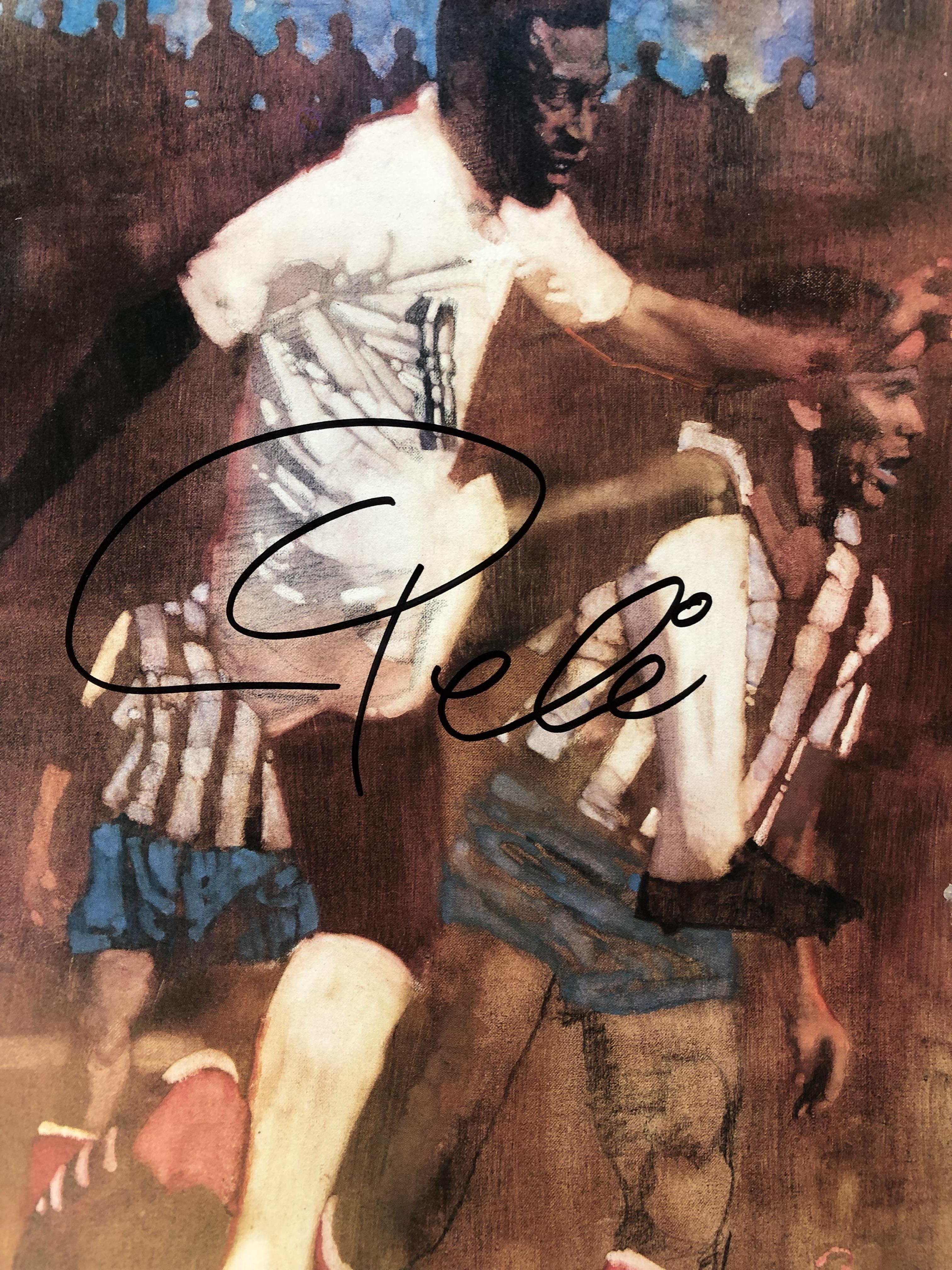 Framed painting and autographed by Pele! The king of soccer!