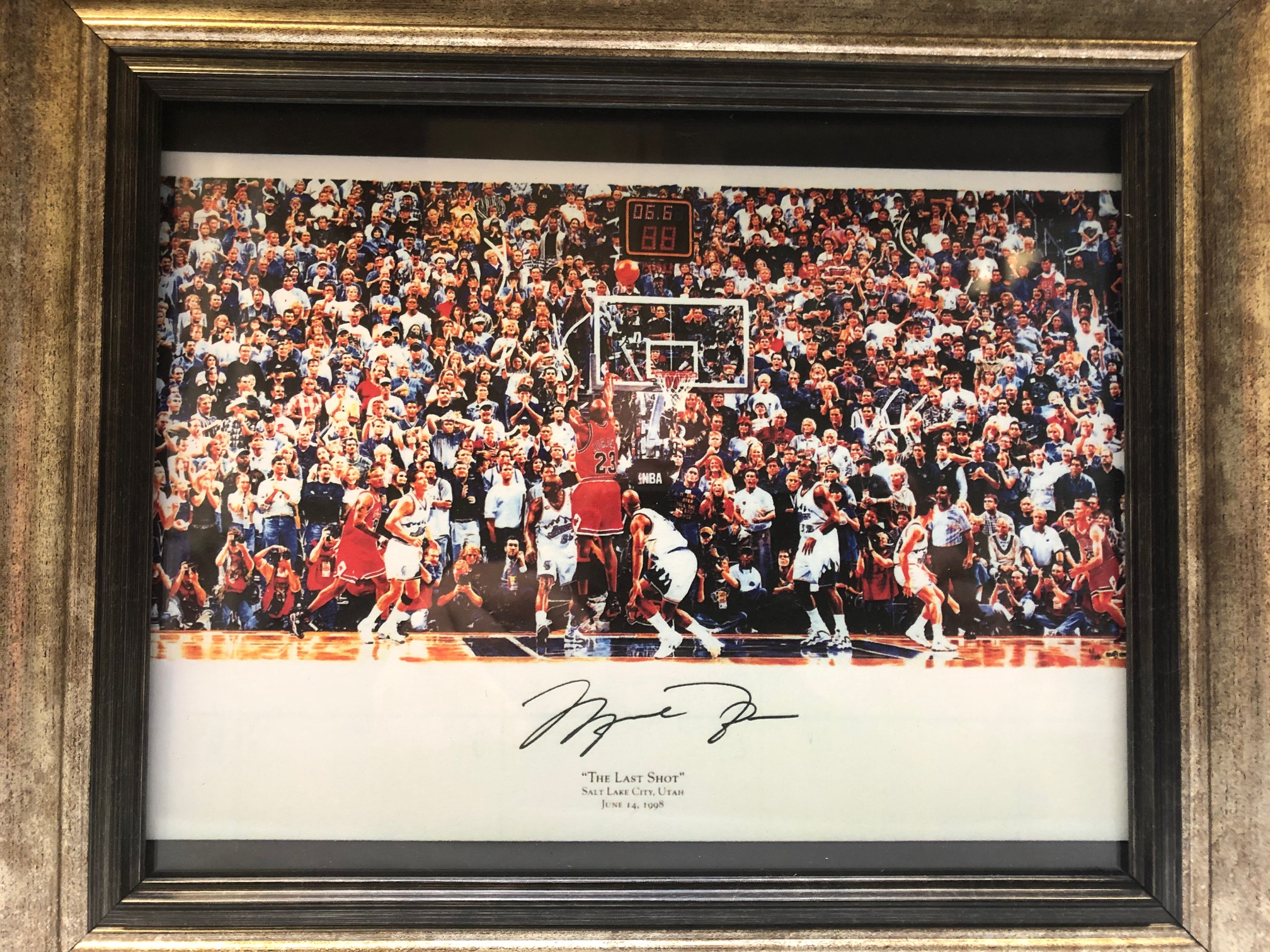 Framed fascimile autograph of Michael Jordan making historic shot vs. Utah!