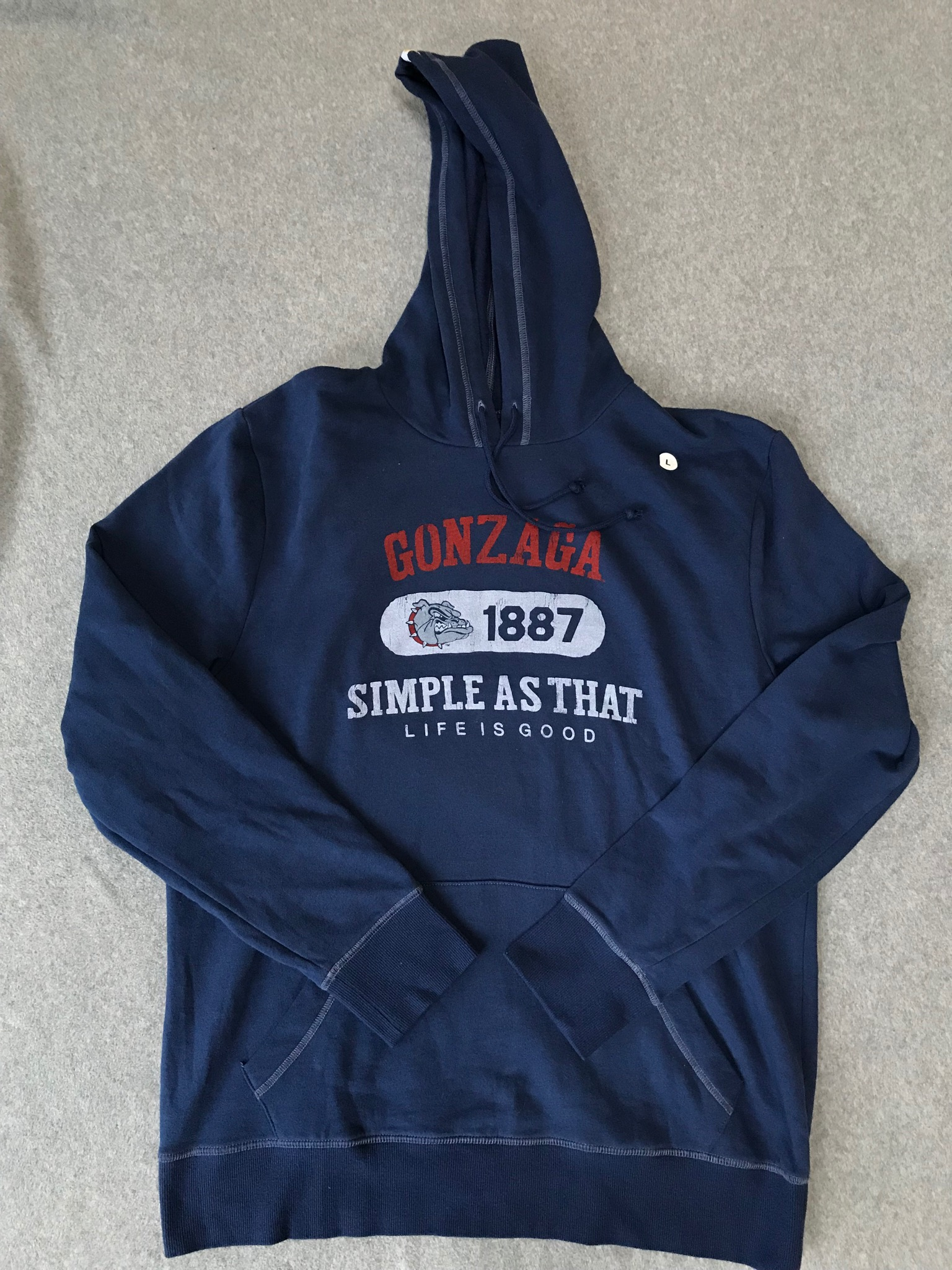 Gonzaga NWT Navy Hoody Screenprinted Size Large