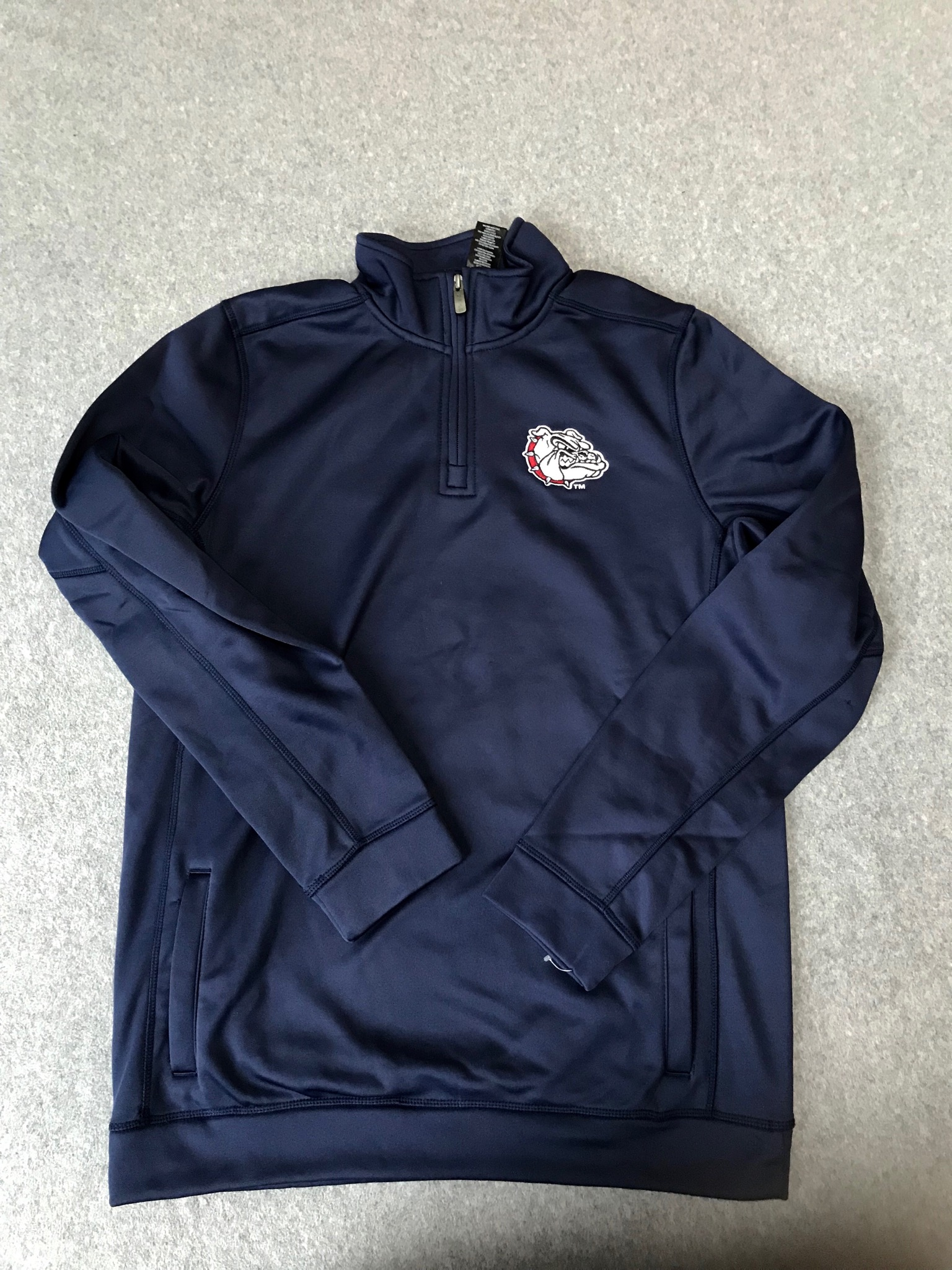 Gonzaga NWT Quarter Zip Navy Embroidered XL