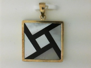 14K Yellow Gold, Mother of Pearl and Onyx Pendant