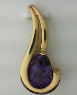 14K Yellow Gold and Amethyst Pendant