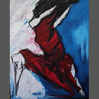 "Framed Original Figurative Dancer Painting entitled ""Forward Thrust"""