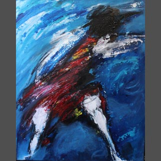"Framed Original Dancer Painting ""Serpentine in Blue"""