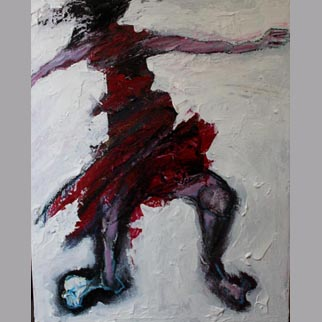 "Framed Original Figurative Dancer Painting entitled ""Terra Firma"""