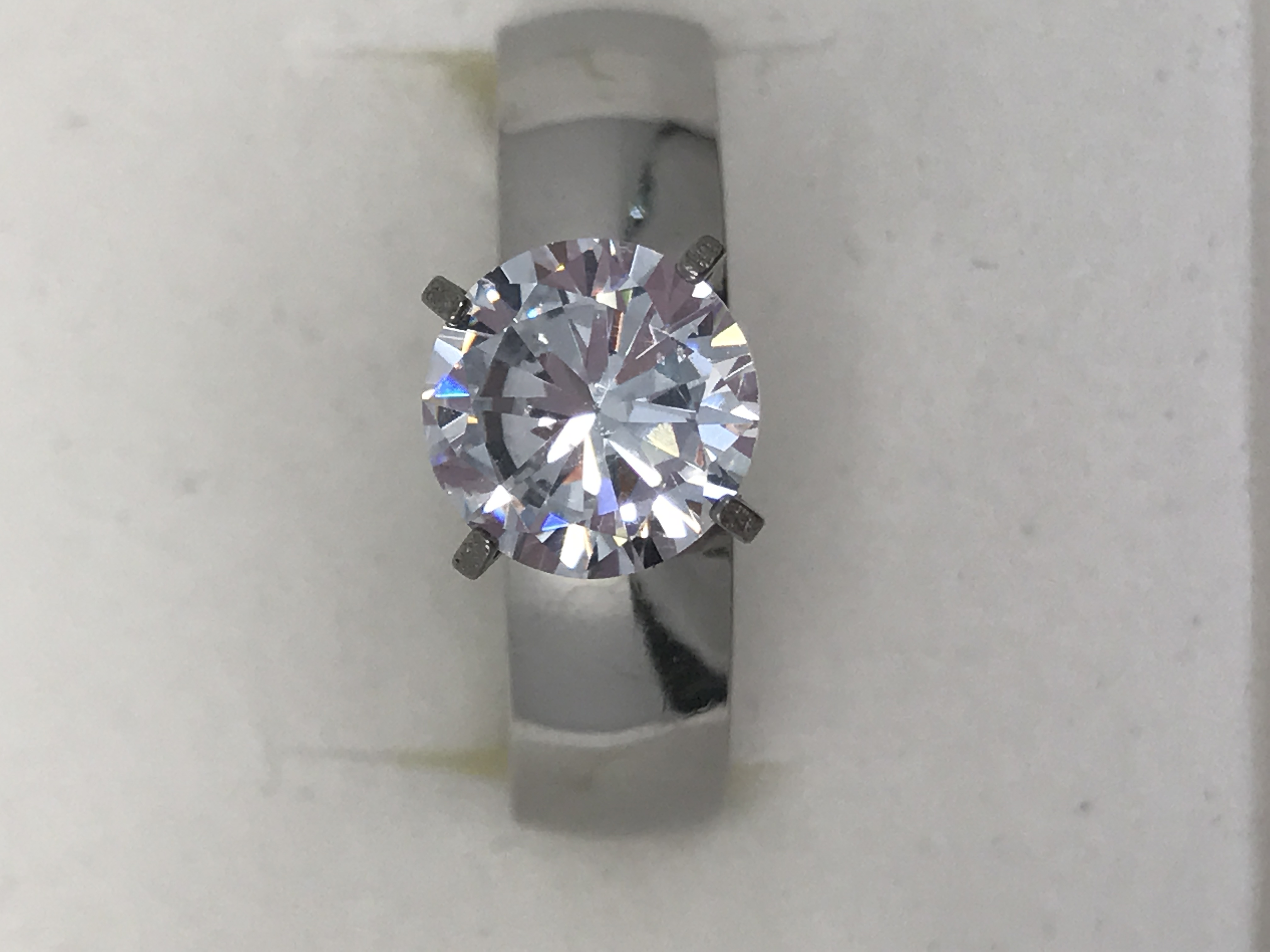 Cubic Zirconia Stainless Steel engagement ring SIZE 9
