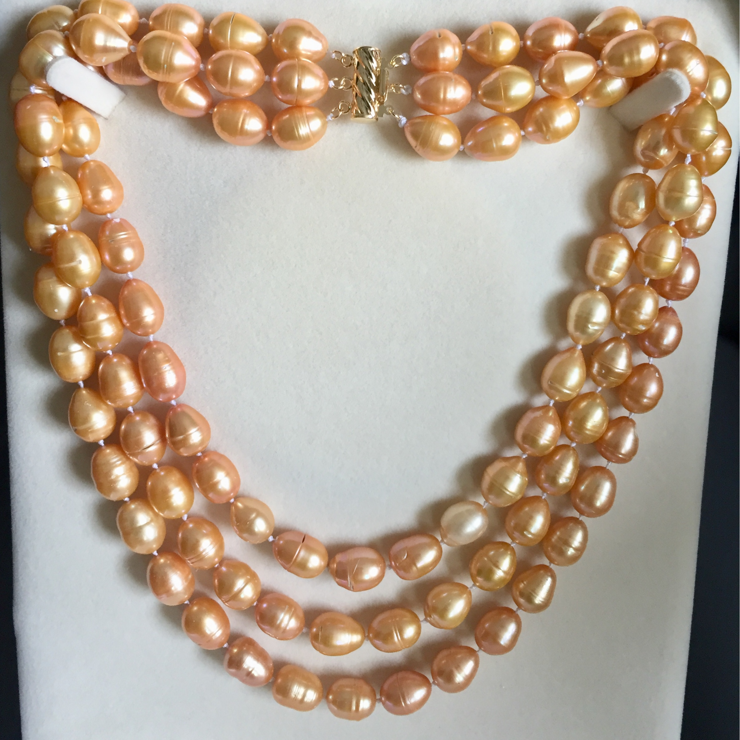 Triple Strand Golden South Sea Pearl Necklace