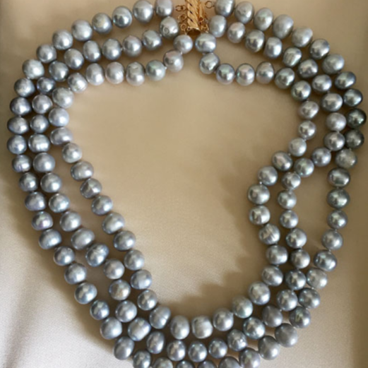 Triple Strand Platinum South Sea Pearl Necklace