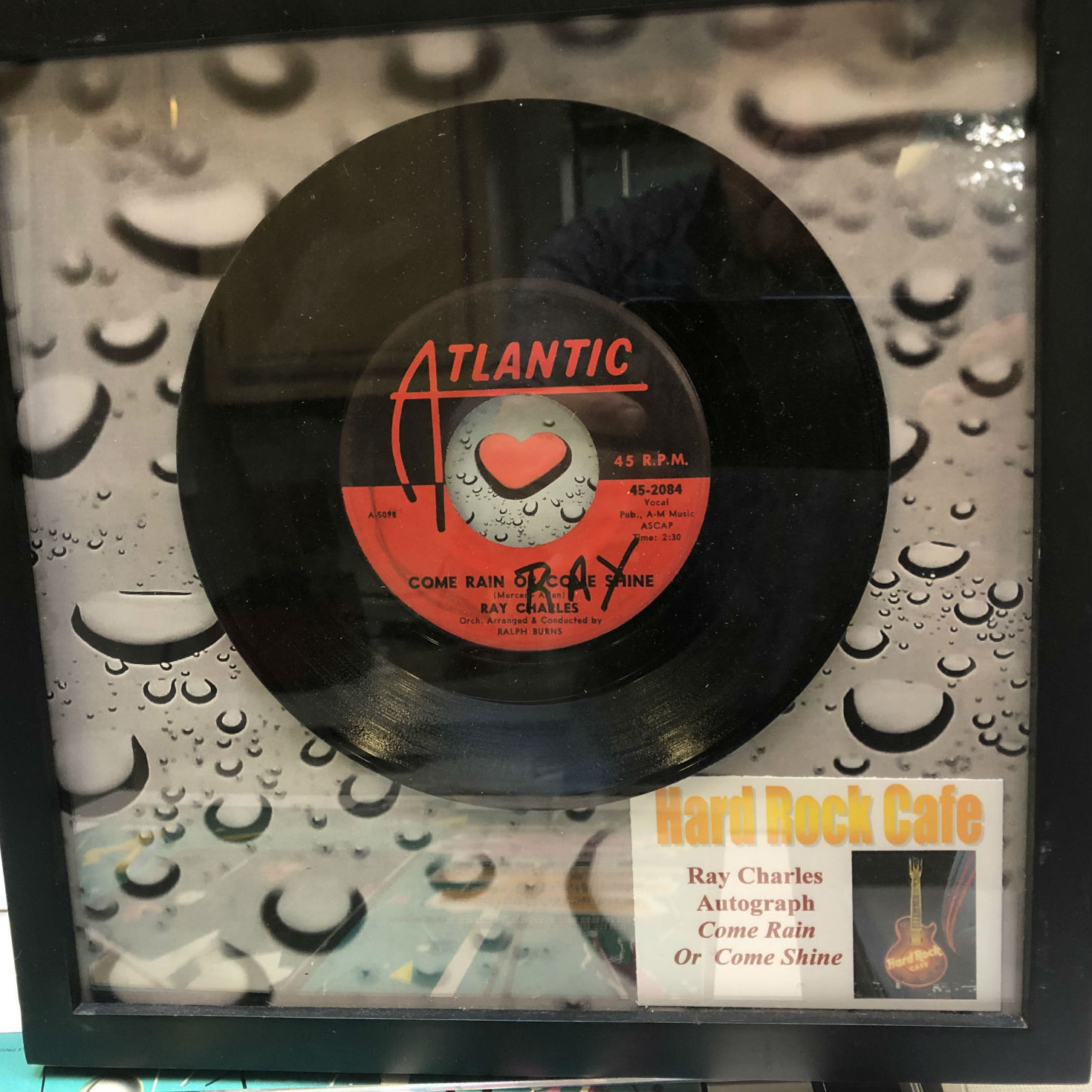 Extremely rare framed and autographed Ray Charles autograph! From Hard Rock Café