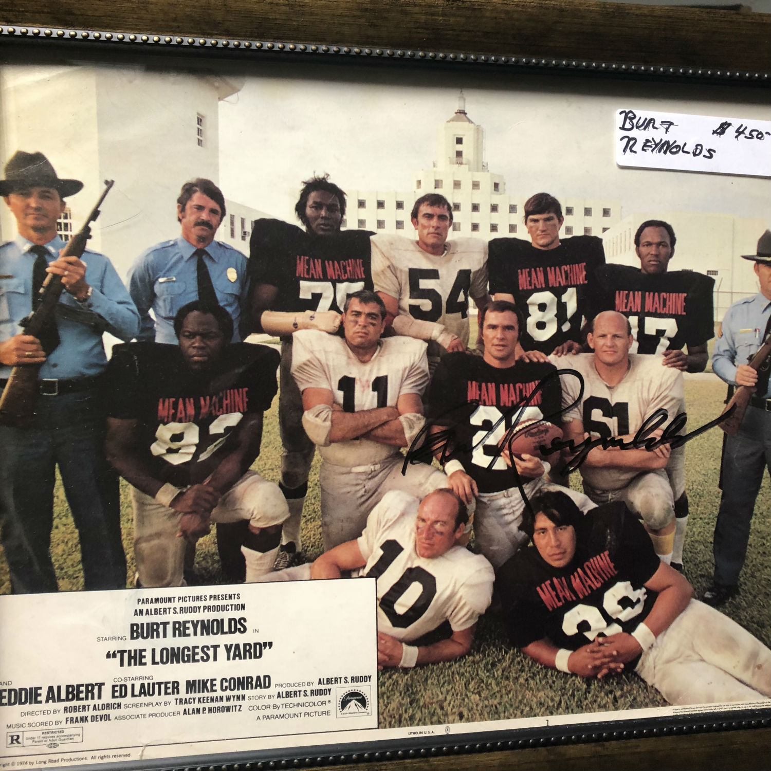 Framed and autographed photo of Burt Reynolds - The Longest Yard