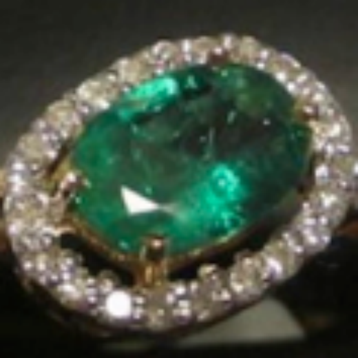 18K Genuine Brazilian Emerald & Diamond Yellow Gold Ring (Size 7)  with COA