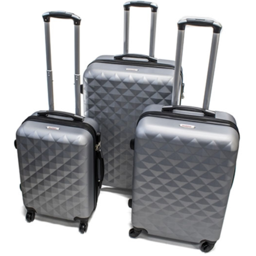 ALEKO® ABS LUGGAGE TRAVEL SUITCASE SET WITH LOCK - 3 PIECE - DIAMOND PATTERN SILVER